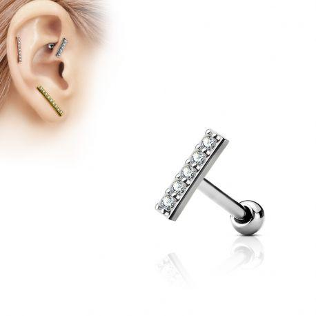 Piercing oreille cartilage barre argentée