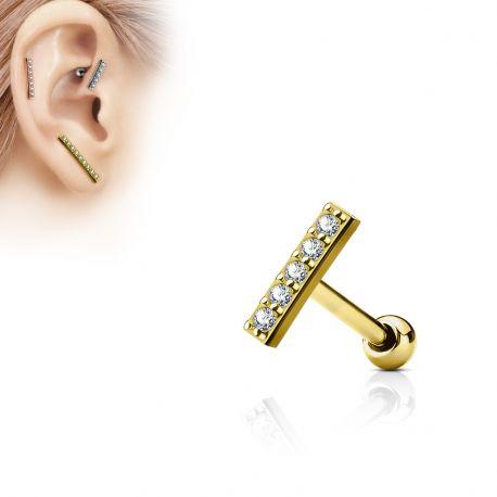 Piercing oreille cartilage barre plaqué or