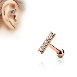 Piercing oreille cartilage barre plaqué or rose