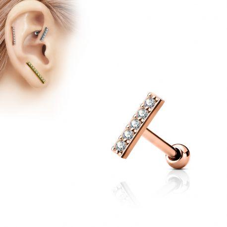 Piercing oreille cartilage barre plaqué or rose