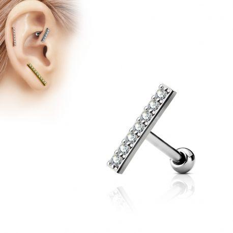Piercing oreille cartilage longue barre argentée
