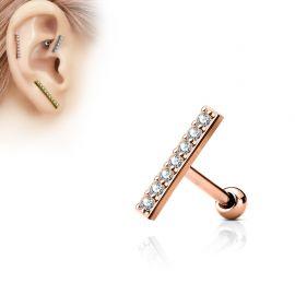 Piercing oreille cartilage longue barre plaqué or rose