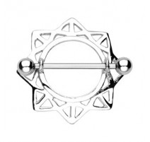 Piercing Téton Bouclier Etoile Triangulaire - Bijou Piercing Téton