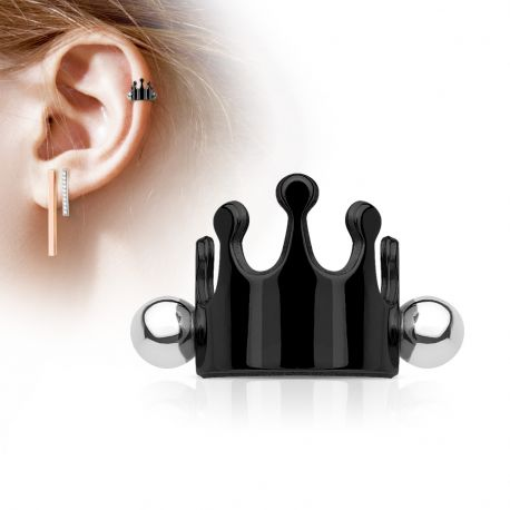 Piercing Oreille Helix Cartilage Manchette Couronne Noire