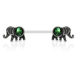 Piercing téton éléphant opale vert
