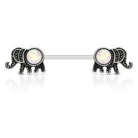Piercing téton éléphant opale blanc
