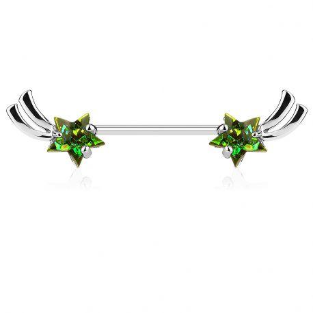 Piercing téton étoiles filantes opales vertes
