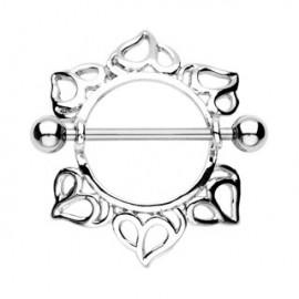 Piercing Téton Bouclier Coeurs