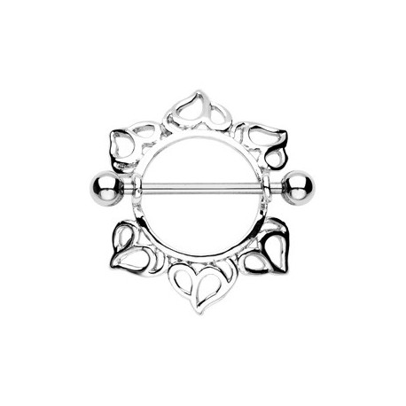 Piercing Téton Bouclier Coeurs - Bijou Piercing Téton