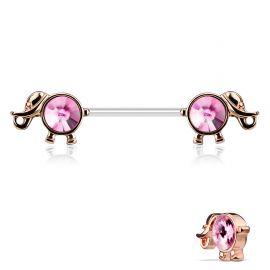 Piercing téton éléphant or rose cristaux roses