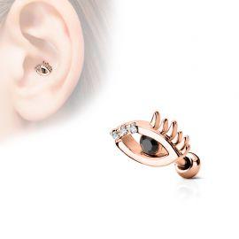 Piercing oreille cartilage oeil omniscient plaqué or rose