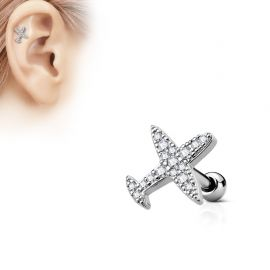 Piercing oreille cartilage avion strass