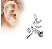 Piercing oreille cartilage feuille pavée de strass