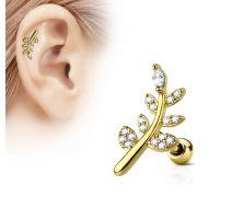 Piercing oreille cartilage plaqué or feuille pavée de strass
