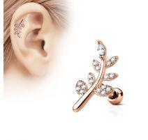 Piercing oreille cartilage plaqué or rose feuille pavée de strass
