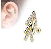 Piercing oreille cartilage plaqué or chevrons de flèche