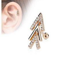 Piercing oreille cartilage plaqué or rose chevrons de flèche