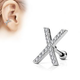 Piercing oreille cartilage X pavé de strass