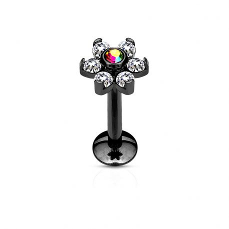 Piercing labret lèvre fleur cristaux blanc acier noir