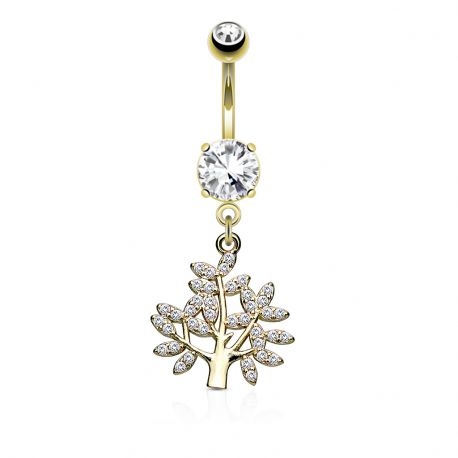 Piercing nombril arbre de vie pavé de gemmes plaqué or
