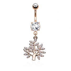 Piercing nombril arbre de vie pavé de gemmes plaqué or rose