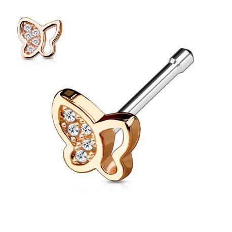 Piercing nez tige droite papillon or rose