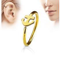 Piercing nez anneau ancre marine doré