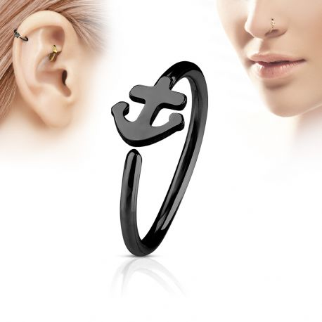Piercing nez anneau ancre marine noir
