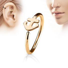 Piercing nez anneau ancre marine or rose