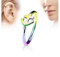 Piercing nez anneau ancre marine multicolore