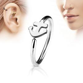 Piercing nez anneau ancre marine argenté