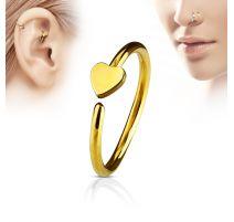 Piercing nez anneau coeur doré