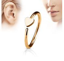 Piercing nez anneau coeur or rose