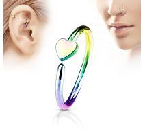 Piercing nez anneau coeur multicolore