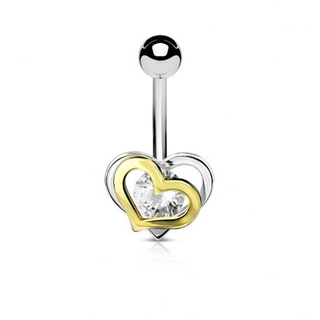 Piercing nombril double coeur pierre blanche