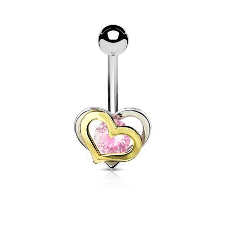 Piercing nombril double coeur pierre rose
