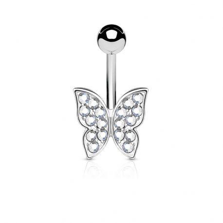 Piercing nombril papillon srass blanc