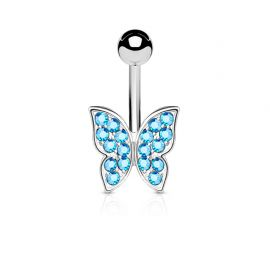 Piercing nombril papillon strass turquoise