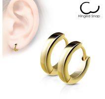 Paire Boucles d'oreille anneaux acier doré