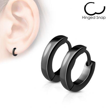 Paire Boucles d'oreille anneaux acier noir