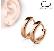 Paire Boucles d'oreille anneaux acier or rose