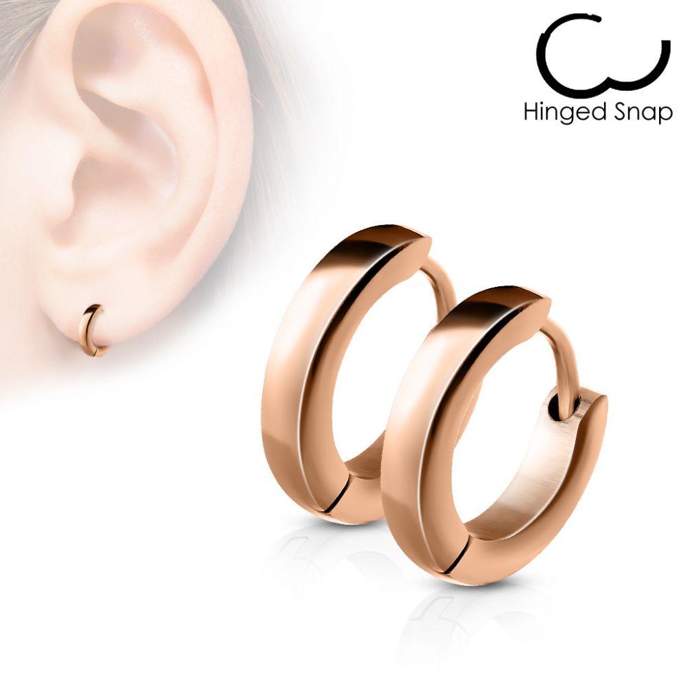 paire boucles d 39 oreille anneaux acier or rose. Black Bedroom Furniture Sets. Home Design Ideas