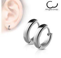 Paire Boucles d'oreille anneaux acier argenté