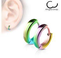 Paire Boucles d'oreille anneaux acier multicolore
