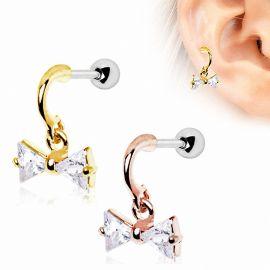 Piercing cartilage oreille plaqué or noeud