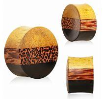 Piercing plug oreille bois de jacquier, areng et cocotier