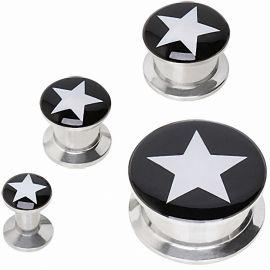 Piercing plug oreille noir étoile