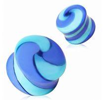 Piercing plug verre bleu tourbillonant