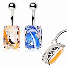 Piercing nombril avec verre tournoyant