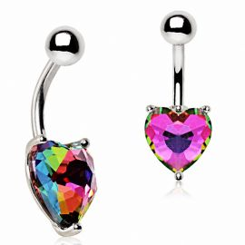 Piercing nombril coeur vitrail multicolore